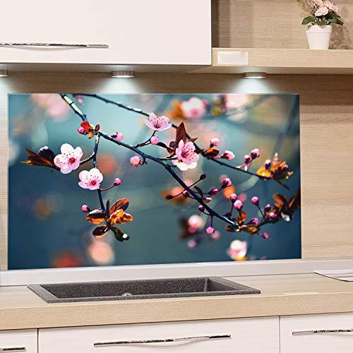 GRAZDesign Spritzschutz Glas für Küche Herd, Bild-Motiv Kirschblüte im Sommer, Küchenrückwand Küchenspiegel Glasrückwand / 80x40cm