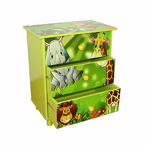 Homestyle4u 646 Kinderkommode Dschungel Tiere, Kinderschrank mit 3 Schubladen für das Kinderzimmer, Holz Grün