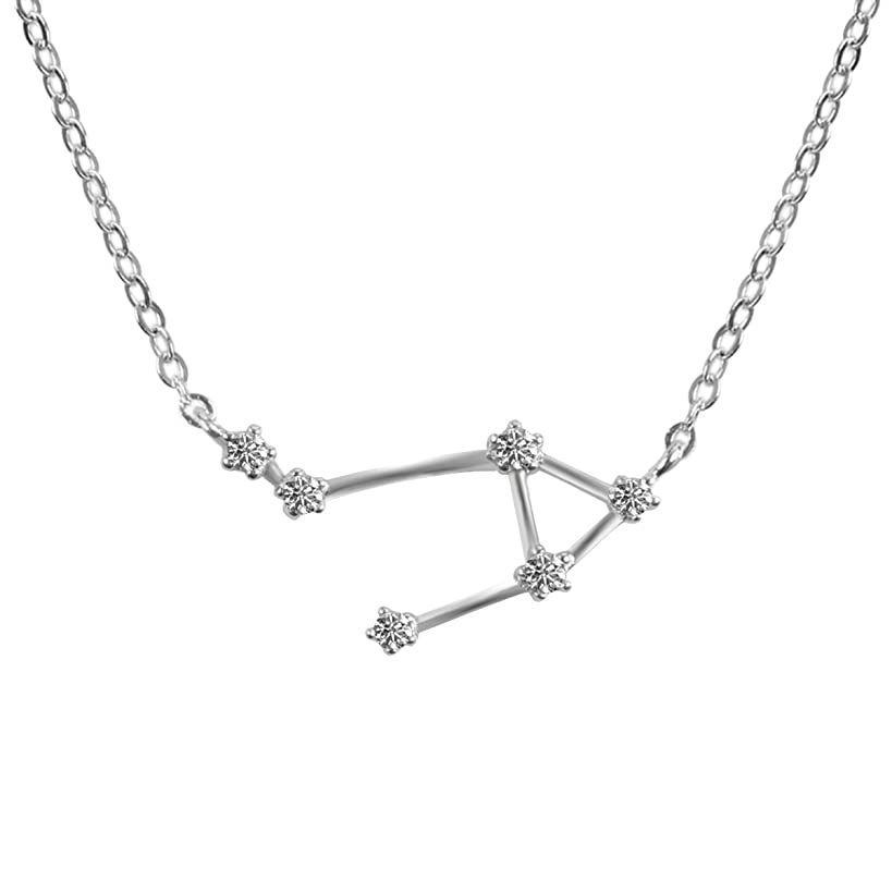 TQS Horoscope Plated Silver Necklace Zodiac Sign Women Pendant Constellation Necklace Birthday Gift