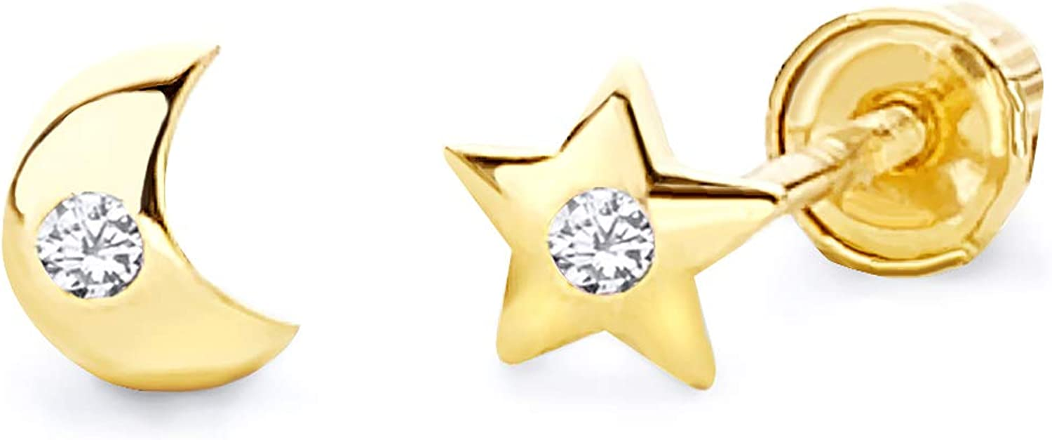 Limited time trial price Inexpensive Wellingsale 14K Yellow Gold Polished Stud Earrings And Moon Star