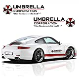 YSpring 1 Pair Umbrella Corporation Car Decals Resident Evil Decorative Auto Body Stickers for Cars Motorcycles (Style I-black-19.7 in 5.9 in)