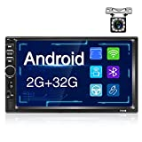 Hodozzy 2G + 32G Radio 2 DIN Android con Pantalla táctil 1080P de 7', Autoradio Bluetooth Compatible USB/TF/AUX Reproducción, Estéreo Coche Soporte WiFi FM GPS Mirror Link + Cámara de Marcha Atrás