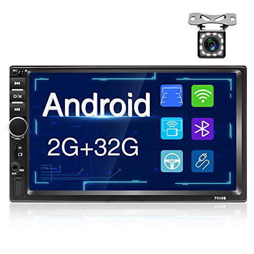 Android Autoradio Bluetooth-Autoradio doppio din con Navigatore,Unità Principale Touchscreen da 7'' supporta WiFi,Collegamento Specchio,FM,AUX,TF,USB e Telecamera Posteriore