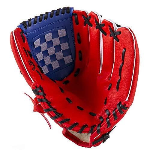 Baseballhandschuh Softball Handschuhe Baseball Catcher Kampfhandschuh Kinder Handschuh Linke und rechte Hände Softball Handschuhe, K6-9944, rot