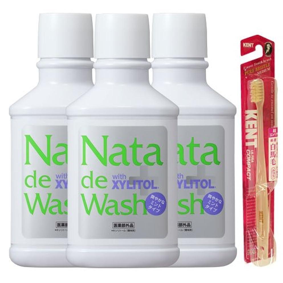 ペインギリック樫の木寛大さ薬用ナタデウォッシュ 爽やかなミントタイプ 500ml 3本& KENT歯ブラシ1本プレゼント