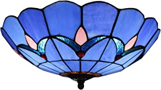 BAYCHEER HL404204 Tiffany Style Semi Flush Mount Light Glass Shade Flower Ceiling Fixture Ceiling Lighting Fixtures Modern 12 inch Blue
