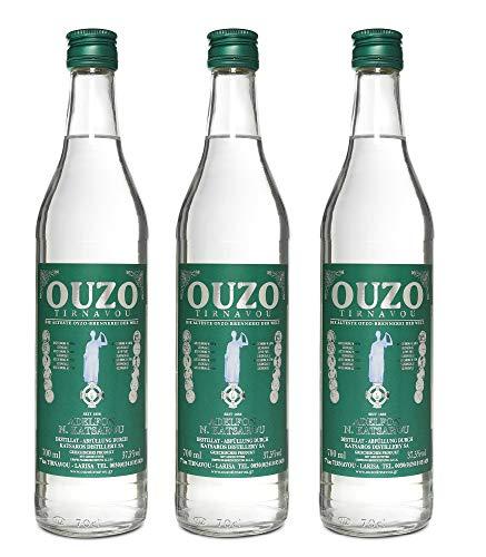 Premium Ouzo Katsaros green | Anis likör | aus Griechenland | Anis schnaps | mild | Geschenk | USO | UZO | 3x 700ml Glas Flasche (3x 0,7 l)