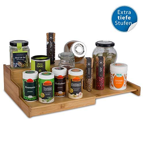cookenia - ausziehbares Gewürzregal für Küchenschrank aus Bambus - praktische Aufbewahrungsmöglichkeit für Ordnung - Gewürzregal Holz