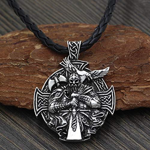 CNZXCO Brazalete Vikingo, Pulsera Vikinga Hombre, Amuletos De La Suerte Y Proteccion, Viking Warrior Odin Montar Animal, Crowing Hammer Collar, Hombres Y Mujeres Accesorios Largos Colgantes
