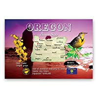 OREGON MAP postcard set of 20 identical postcards. OR state map post cards. Made in USA. [並行輸入品]