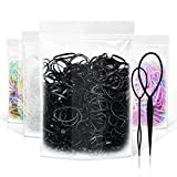 2000 Pcs Hair Rubber Bands, Black/Clear/Colorful Small Hair Elastics for Women's Hair, Thick Elastic Plastic Hair Ties for Kids or Toddler with Topsy Tail Hair Styling Accessories Tool (4 Colors)