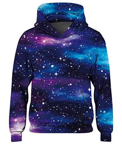 Freshhoodies Enfants Sweat-Shirt à Capuche Garçon Impression Galaxie 3D Pull De Noël Mignon Coloré Galaxy Animale Sweat à Capuche Hoodie Bleu 8-11 Ans