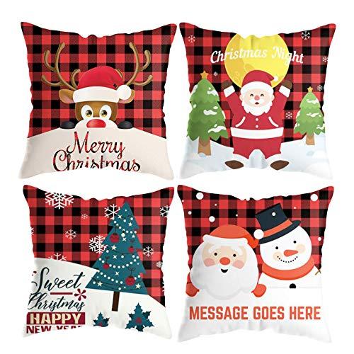 Pillow Case Christmas Xmas Cushion Throw Cover Lattice Pillow Case Cotton Home Sofa Decor