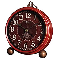 JUSTUP Red Table Clock,Vintage Decorative Non-Ticking Small Table Desk Alarm Clock with Battery Operated Silent Quartz Movement HD Glass for Bedroom/Living Room/Kitchen/Office/Classroom (A)
