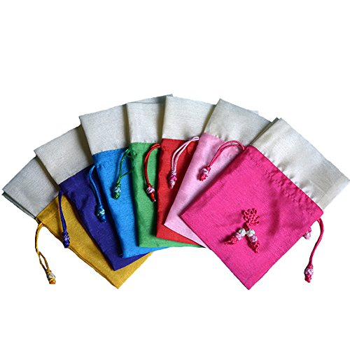 TooGet Bolsas para Joyas Bolsas para Bolsitas Bolsas con Cordón de Seda para Hielo Bolsas de Joyería para Bodas y Arte de Bricolaje, 10x15cm, Múltiples Colores - 6PCS