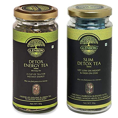 Glenberg Green Tea Combo for Weight Loss and Energy | Slim Detox Tea & Detox Energy Tea | 50Gm, 25 Cups Each
