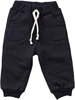 Happy childhood Baby Boys Girls Cotton Elastic Waist Pants Winter Solid Thicken Trousers Casual Sweatpants Bottoms