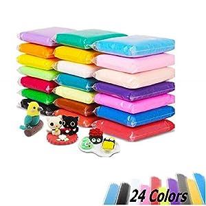 Luclay Arcilla Seca al Aire, 24 Colores Arcilla de Modelado Ultra Ligero, DIY Arcilla Colorida Suave moldeo Artesanal Conjunto Fluffy Floam Slime
