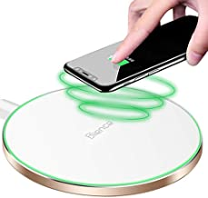 10W Fast Wireless Charger Pad/Mat Upgraded,QI-Certified Ultra Thin Round Alloy Wireless Charging Station Compatible with iPhone Xs XR Max iXR X 8/8P/Galaxy S9 S8 S7 Note 9/8 Huawei Mate20(White)