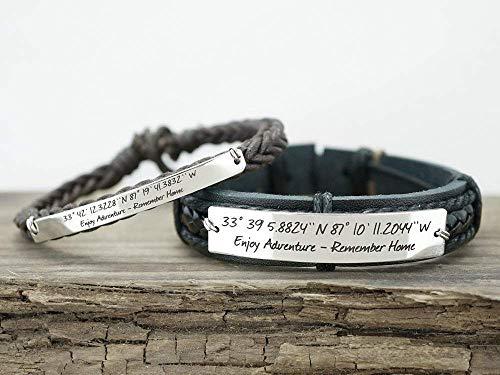 Coordinate Bracelet Set, Matching Couple Cuffs for Boyfriend Girlfriend, Inspirational Quote Enjoy Adventure, Moving Away Gift