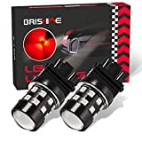 BRISHINE Super Bright 3157 3156 3057 3056 4057 4157 3157K T25 3457 LED Bulbs Brilliant Red 9-30V Non-polarity 24-SMD LED Chipsets with Projector for Brake Tail Lights, Turn signal Lights(Pack of 2)