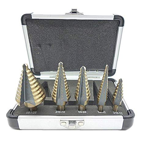 Paso Brocas Groove Bit Kit Paso Taladro para el bricolaje carpintería metálica de oro plástico 5PCS fiable y duradero