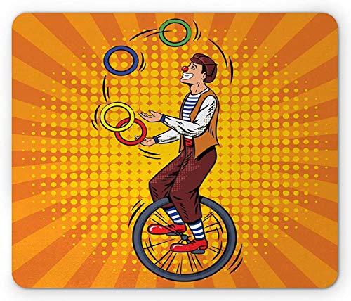 Mausmatte, Zirkusscheibe Jongleur Mann auf Einrad Comic inspiriertes Design auf Pop-Art-Strahlen Orange und mehrfarbig Mousepad von guter Qualität für Schreibtisch Schreibblock Büro,18x22cm