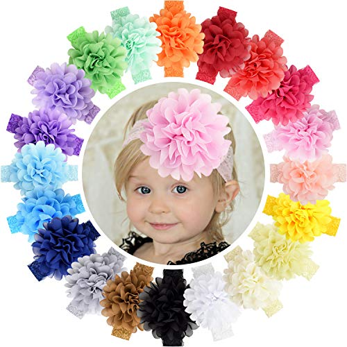 WillingTee 20pcs Baby Girls Headbands 4.5' Chiffon Flower Soft Stretchy Hair Band Hair Accessories for Baby Girls Newborns Infants Toddlers