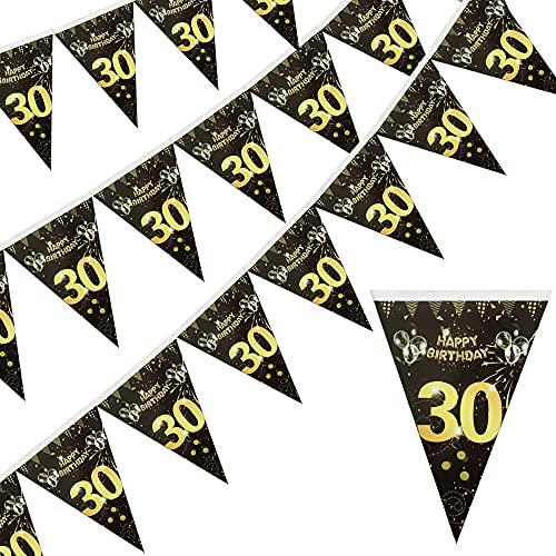 Jiahuade Geburtstag Deko 30 Mann,30.Geburtstag Dekoration,Schwarz Gold Geburtstag,Hintergrund Banner Geburtstag,30 Jahre Banner,Geburtstag Party Dekorationen