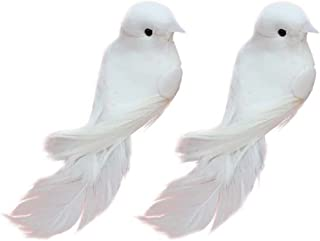 lwingflyer Artificial Simulation Foam Bird, Satin Paper Painted Ornaments DIY Craft for Wedding Decoration Party Accessories 12cm (8, White)