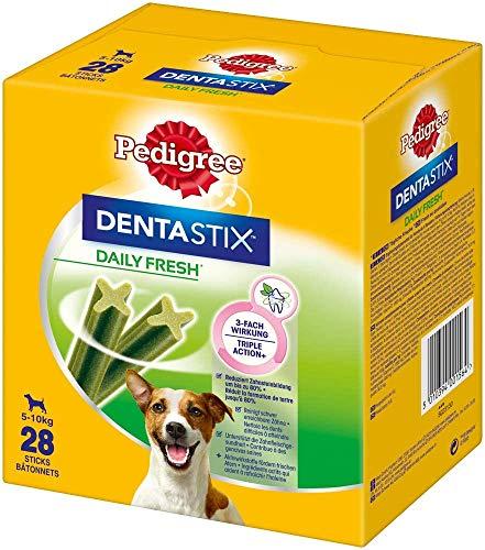 Pedigree DentaStix Daily Fresh Zahnpflegesnack für kleine Hunde – Hundeleckerli mit Aktivwirkstoffen für jeden Tag – Für gesunde Zähne und einen frischen Atem – 112 Sticks (4 x 28 Stück)