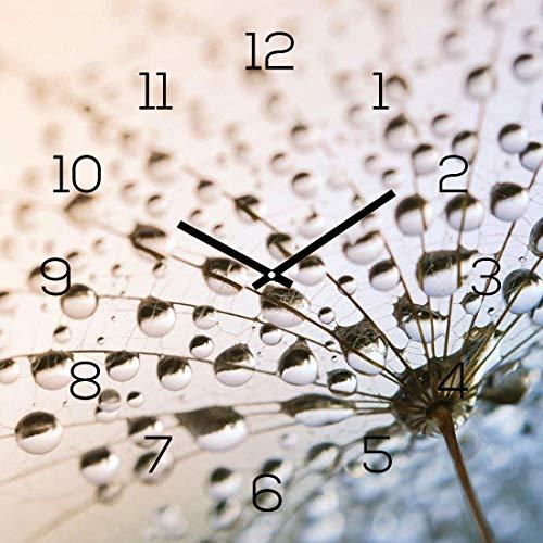 levandeo Wanduhr Glas 30x30cm Glasuhr Uhr Glasbild Pusteblume Blume Natur Deko Wanddeko Tau Regentropfen