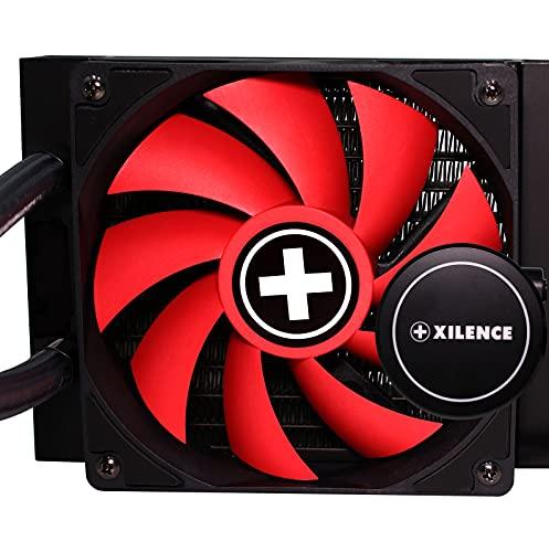 Xilence XC971 LiQuRizer   Liquid CPU Cooler  Wasserkühlung LQ120 MultiSockel AiO Radiator 1x120mmPWMLüfter 200WattTDP AMD Intel rot/schwarz