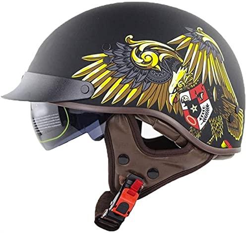 YLFC Retro Casco Moto ECE Homologado Cascos Half-Helmet Medio Casco Retro Casco Moto Abierto Retro Casco Moto Jet Half Moto Cascos Helmet Vintage Casco de Media cáscara (Color : A, Size : M)