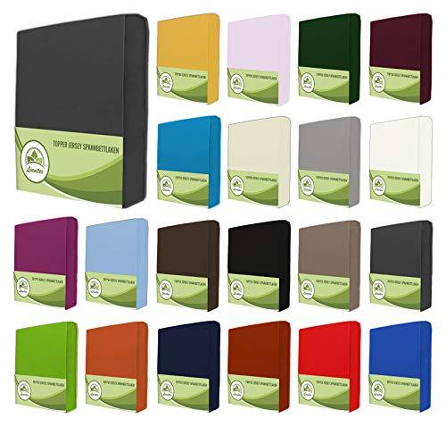 leevitex Topper Jersey Spannbettlaken, Spannbetttuch 100{c5b3935b6a7f7a30fcf2a9ac9030d00826cd0529b0dc07b11687e8131dd710bd} Baumwolle in vielen Größen und Farben MARKENQUALITÄT ÖKOTEX Standard 100 (Creme/Natur, 90x200-100x200 cm)