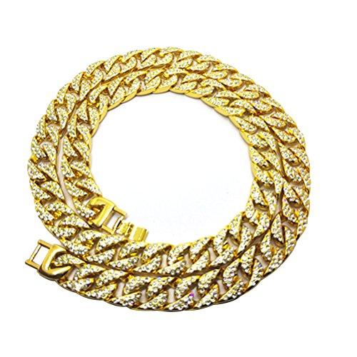LUOEM Elegante Herren-Halskette, Hip-Hop-Schmuck, Kristall-Diamantimitationen, Gliederkette, vergoldet, 75 cm