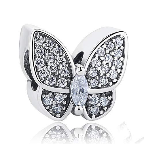 LILIANG Charm Jewelry Fit Original Pandora Charms Pulsera 925 Cuentas De Mariposa De Cristal De Plata Esterlina DIY Joyería Que Hace El Día De San Valentín