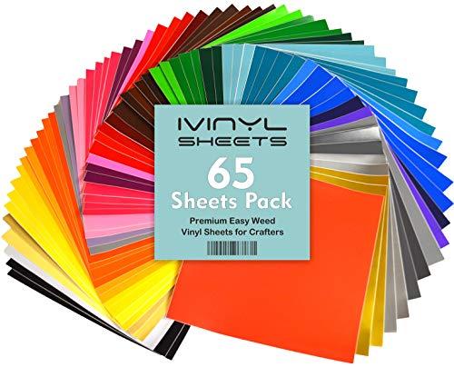 iVinyl–65selbstklebend Blatt 30,5x 30,5cm Premium Permanent selbstklebend Vinyl Blatt–65glänzend & matt sortiert Farben Blatt für Cricut, Craft, Silhouette Cameo &, Maschinen