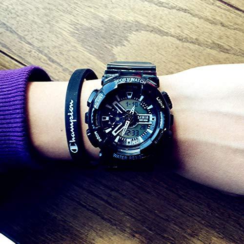 TWCAM Acero Cuero Pulsera Hombre- Reloj Hombre Y Mujer Reloj Electrónico Atmosférico Deportivo Resistente Al Agua, Clásico Negro Pequeño