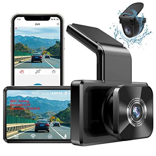 AUTOWOEL Dashcam Vorne und Hinten Autokamera mit WiFi und GPS, 1080P Full HD DVR Mini Auto Kamera, Dual Lens Dash Cam Auto Videorecorder, 170 ° Weitwinkel mit Nachtsicht, G-Sensor, Parküberwachung