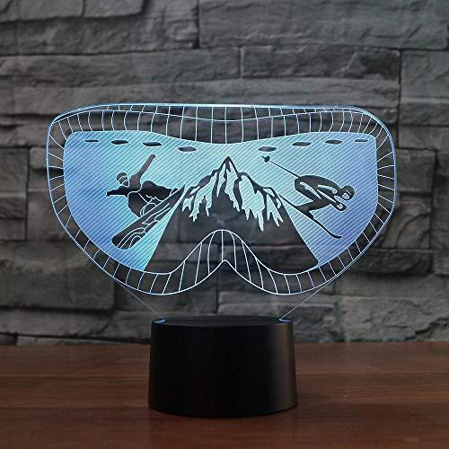 LLZGPZXYD 7 kleuren veranderende 3D skibril gietijzer nachtlicht snowboarding bureaulamp LED acryl verlichting cadeau baby slaapkamer decoratie Touch Switch