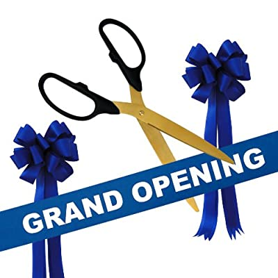 """Grand Opening Kit - 36"""" Gold Ceremonial Ribbon Cutting Scissors with 5 Yards of 6"""" Grand Opening Ribbon and 2 Bows"""