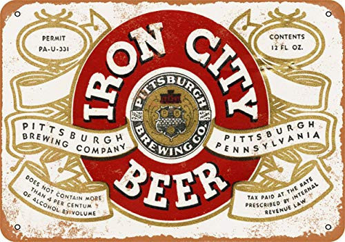 Scott397House Metal Tin Sign, 1933 Pittsburgh Iron City Beer Vintage Wall Plaque Man Cave Poster Decorative Sign Home Decor for Indoor Outdoor Birthday Gift 8x12 Inch