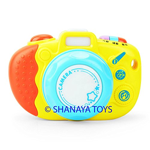SHANAYA Cute Colorful Luminous Camera with Sound Effects Animal Sounds Different Types of Music Learning & Development Toy for Kids (Assorted Colors)