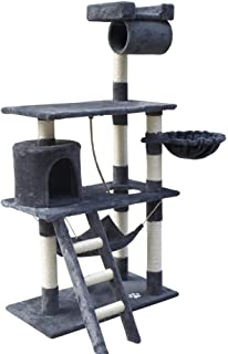 Cat Scratching Tree Post Scratcher Pole Condo Gym Furniture Medium 141cm grey