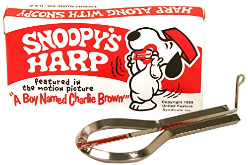 Snoopy Jaws Harp Patterned after the original American Jaw Harp. Sturdy, deluxe chrome-plated instrument has a tongue of specially tempered steel. Great for fun and music education Precision tuned to meet professional requirements. Individually boxed...