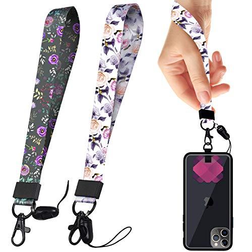 Hand Wrist Lanyard Key Chain Holder, MYECOGO Premium Quality Wristlet Strap Lanyard Keychain for Key,All Smartphones, Phone,Cameras, Toys, USB,Etc (Light Elegant Flower)