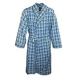 Hanes Men's Lightweight Woven Broadcloth Robe, Medium Large, Blue Plaid
