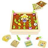 Juguetes de Madera 2 En 1 Montessori Juegos de Mesa Plantar Zanahorias y Memoria...