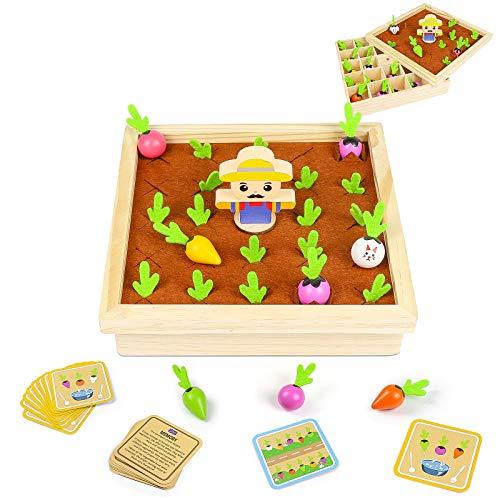 Juegos de Madera 2 En 1 Juguetes Montessori Juguetes Bebe Plantar Zanahorias...